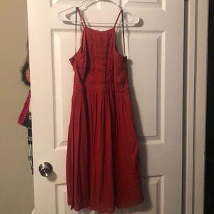 Rust/Burnt orange boho midi dress S